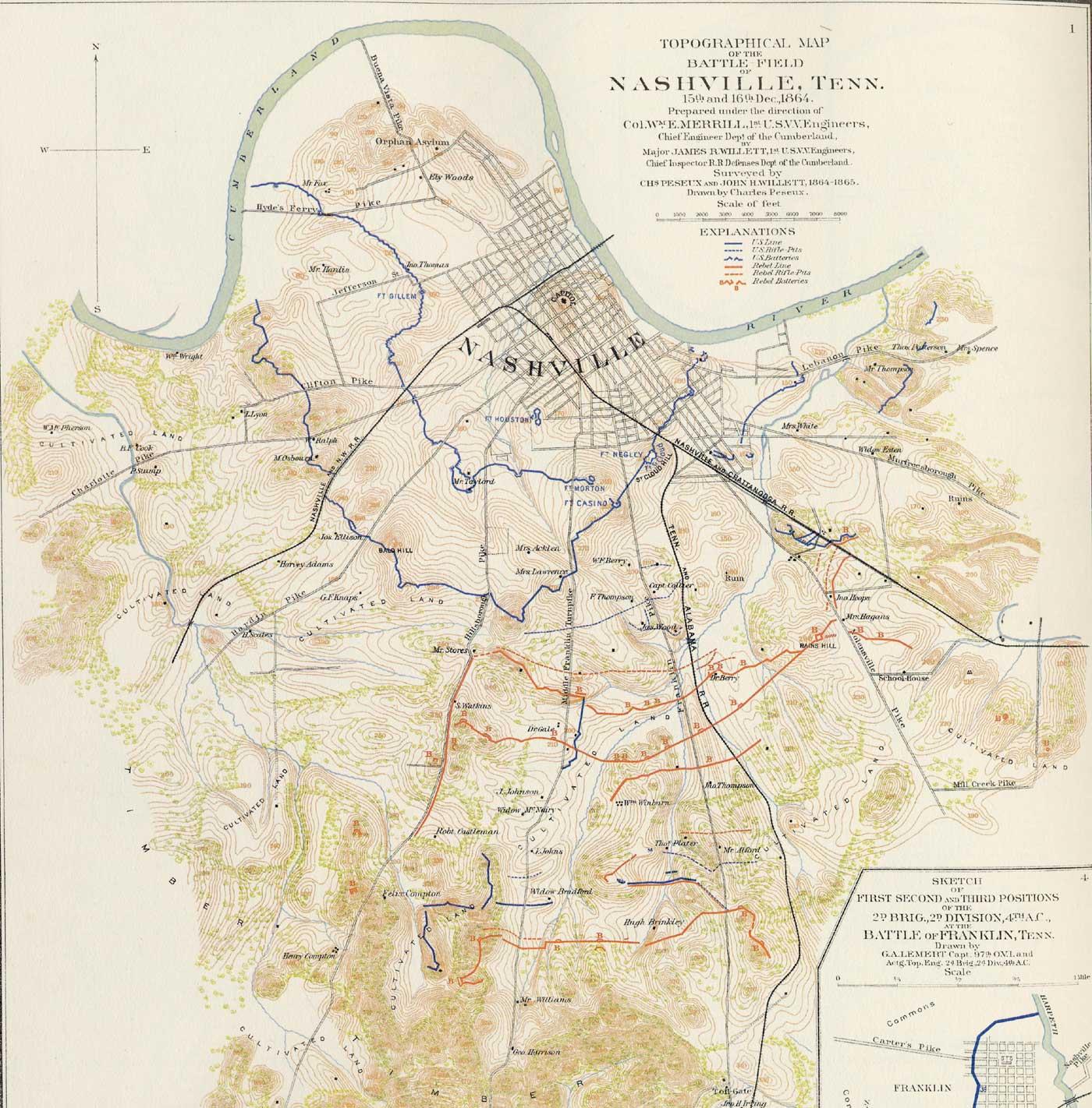 A Map Of Civil War Nashville  Civil War Nashville
